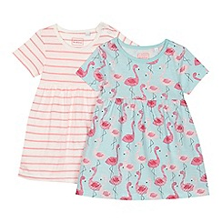 bluezoo - 'Set of 2 baby girls' assorted flamingo and striped print dresses