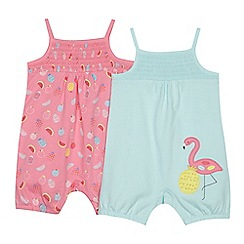 bluezoo - 'Set of 2 babies' pale green and pink flamingo applique and fruit print sleeveless romper suits