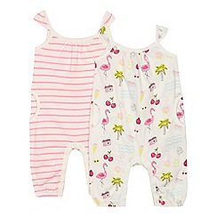 bluezoo - 'Set of 2 baby girls' cream printed romper suits