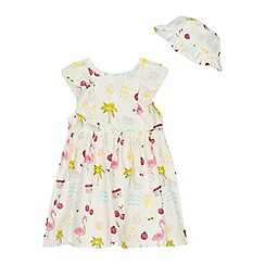 bluezoo - Baby girls' white printed dress and hat set