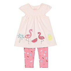 bluezoo - 'Baby girls' pink flamingo applique top and fruit print leggings set