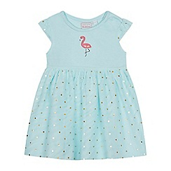bluezoo - 'Baby girls' green jersey flamingo embroidered dress