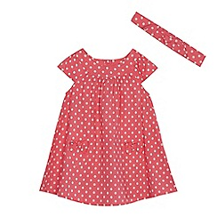 bluezoo - 'Baby girls' pink spotted dress and headband set