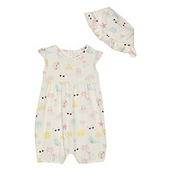 bluezoo - Baby girls' printed jersey romper suit and hat set