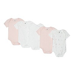bluezoo - 5 pack pink and white printed bodysuits