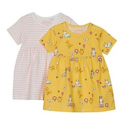 bluezoo - 'Set of 2 baby girls' assorted bunny and striped print dresses