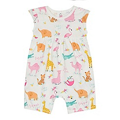 bluezoo - 'Baby girls' white animal print romper suit