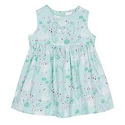 bluezoo - 'Baby girls' light green swan print dress