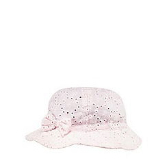 bluezoo - Pack of two baby girls' pink and white broderie sun hats