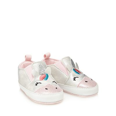 bluezoo Baby girls  silver slip-on trainers  2d5dbf908a67c