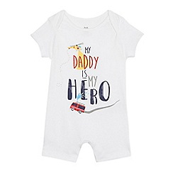 bluezoo - Baby boys' 'Daddy is my hero' print romper suit
