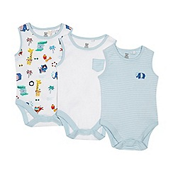 bluezoo - 'Set of 3 baby boys' white and blue plain and striped bodysuits