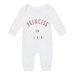 bluezoo - Baby girls' white 'Princess in Waiting' sleepsuit