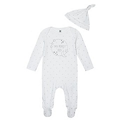 bluezoo - Baby boys' white 'My First Eid' sleepsuit with a hat