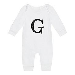 bluezoo - Babies' white 'G' print sleepsuit