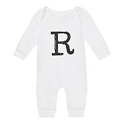 bluezoo - Babies' white 'R' print sleepsuit