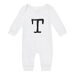bluezoo - Babies white 'T' print sleepsuit