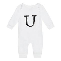 bluezoo - Babies' white 'U' print sleepsuit