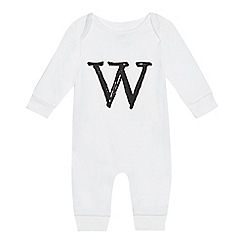 bluezoo - Babies' white 'W' print sleepsuit
