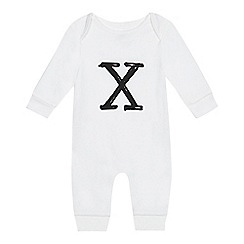 bluezoo - Babies' white 'X' print sleepsuit
