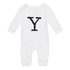 bluezoo - Babies' white 'Y' print sleepsuit
