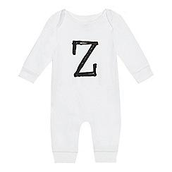 bluezoo - Babies' white 'Z' print sleepsuit