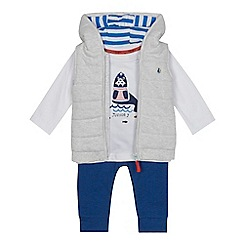 J by Jasper Conran - Baby boys' grey quilted gilet, t-shirt and bottoms set