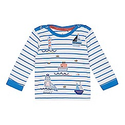 J by Jasper Conran - Baby boys' blue stripe boat applique t-shirt