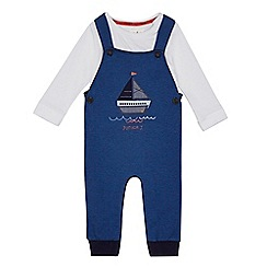 222020250543: Baby boys navy boat applique dungarees and bodysuit set