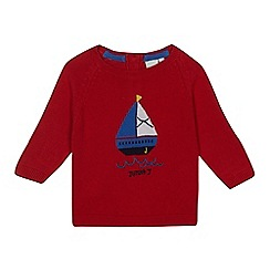 J by Jasper Conran - Baby boys' red boat knitted jumper