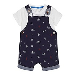 J by Jasper Conran - 'Baby boys' navy sea themed print dungarees and white t-shirt set