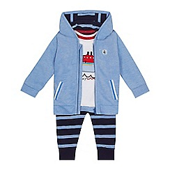 J by Jasper Conran - 'Baby boys' blue nautical hoodie, t-shirt and bottoms set