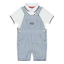 J by Jasper Conran - 'Baby boys' blue striped dungarees and polo shirt set