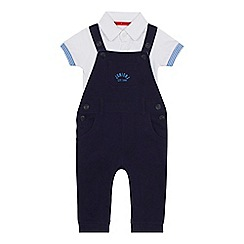 J by Jasper Conran - 'Baby boys' navy pique dungarees and bodysuit