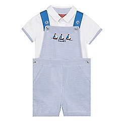 J by Jasper Conran - Baby boys' blue gingham print dungarees and polo shirt set