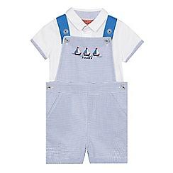 J by Jasper Conran - Baby boys' blue gingham print dungarees and polo shirt set