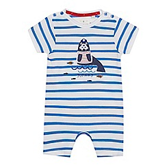 J by Jasper Conran - 'Baby boys' blue striped walrus romper suit