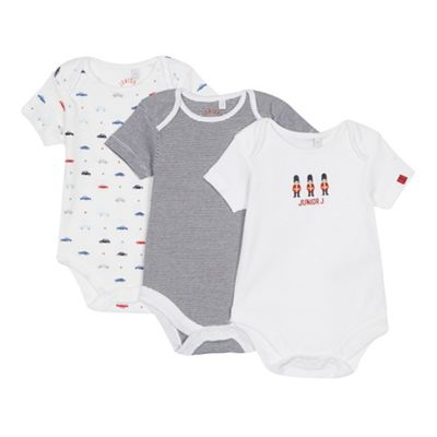 223557d89dc0 J by Jasper Conran Set of 3 babies white and navy printed bodysuits ...