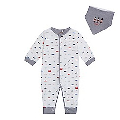 J by Jasper Conran - 'Baby boys' white transport cotton long sleeve sleepsuit and bib set
