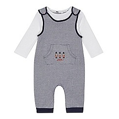 J by Jasper Conran - Baby boys' navy embroidered soldier dungarees and white bodysuit set