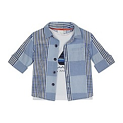 J by Jasper Conran - Baby boys' blue checked shirt and yacht print t-shirt set