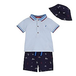J by Jasper Conran - 'Baby boys' blue striped polo shirt, shorts and hat set