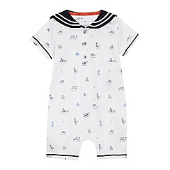 J by Jasper Conran - 'Babies' white sea print jersey short sleeve romper suit