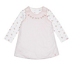 J by Jasper Conran - Baby girls' pink floral print pinafore dress and bodysuit set