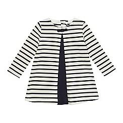 J by Jasper Conran - Baby girls' navy stripe print jersey dress