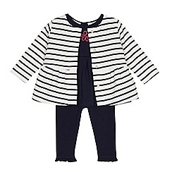 J by Jasper Conran - Baby girls' navy top, leggings and striped jacket set