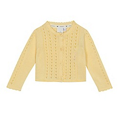 J by Jasper Conran - Baby girls' yellow pointelle long sleeve cardigan