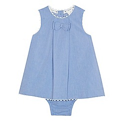 J by Jasper Conran - Baby girls' light blue chambray dress and knickers set