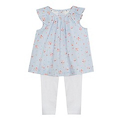 J by Jasper Conran - Baby girls' blue striped floral print top and white leggings set