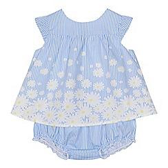 J by Jasper Conran - 'Baby girls' blue daisy print dress and knickers set